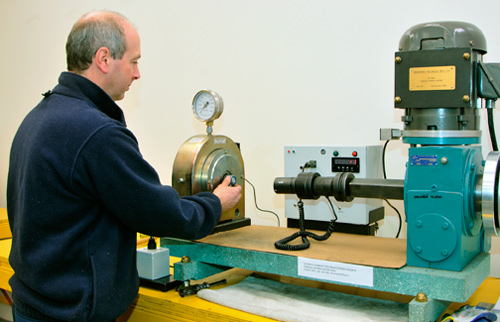An employee is measuring torque using Skidmore Wilhem technology